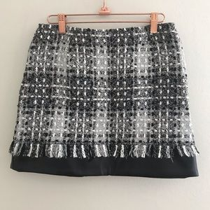 Grace Chow Skirts - Grace Chow - Black White Knit Leather Mini Skirt L